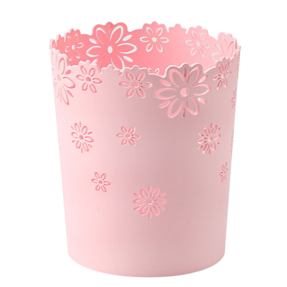 S M L Size Eco friendly Trash Bin Hollow Lily Shape Plastic Lidless Home Wastepaper Baskets