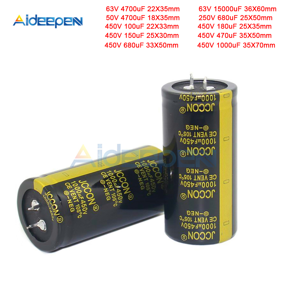 New 50V 63V 250V 450V 100uF 150uF 180uF 470uF 680uF 1000uF 4700uF 15000uF Electrolytic Capacitors Volume High Frequency Low ESR image