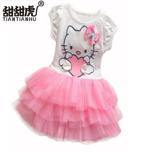 0d1132a9f Baby Girls Cute Hello Kitty Cat Short Sleeve Tutu Dress With Bow Kids Pink  Red Cotton Dresses Children Summer Clothing Vestidos