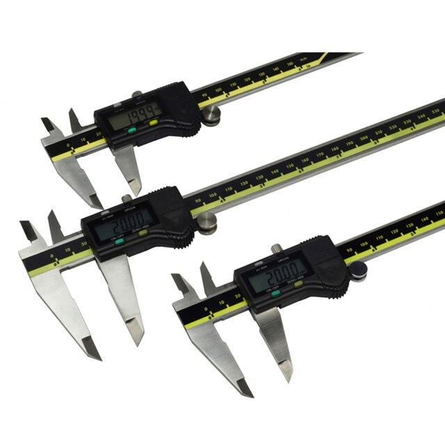 150mm 200mm 300mm origem modo digital pinça de aço inoxidável eletrônico vernier caliper schieber caliper micrômetro + caixa