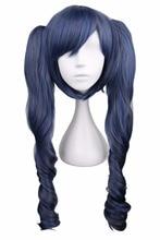 › Long ondulado cosplay bonito preto misto azul cinza cinza 70 cm cabelo sintético