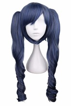QQXCAIW Long Wavy Cosplay Black Butler Mixed Blue Gray Grey 70 Cm Synthetic Hair Wigs