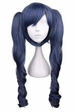 Qqxcaiw 긴 물결 모양의 코스프레 블랙 버틀러 혼합 블루 그레이 그레이 70 cm 합성 머리 가발