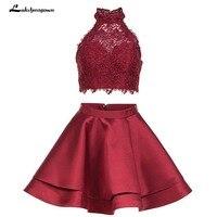 Из двух частей Черный Homecoming платья атласная линии Мини плюс Размеры Выпускной платья vestido de festa vestidos,