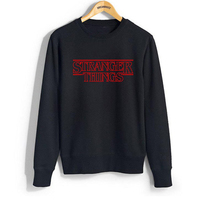 STRANGER THINGS Black Hoodies Women Autumn Winter Letter Pritned Crewneck Sweatshirts Long Sleeve Casual Hoody Tops