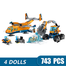 743PCS Small Building Blocks Compatible Lepinging city Arctic Supply Plane Toys for children girls boys Gift  DIY