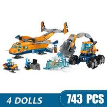 Bloques de construcción pequeños 743 Uds. Compatibles con suministros de ciudad Ártico Lepinging, Avión de juguete para niños y niñas, regalo DIY