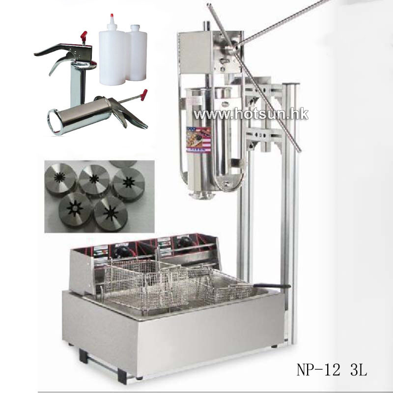 Free Shipping 3L Commercial Vertical Manual Churrera Churros Machine W 12L Fryer 700ml Filler 3l commercial spanish churrera churro maker filler churros making machine equipment