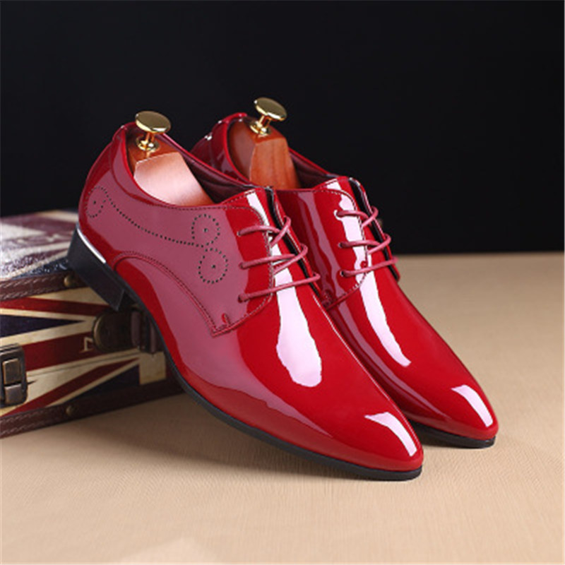 Patent leather Oxford shoes men's dress shoes clothing pointed leather luxury business wedding shoes 2018 new dance shoes 1