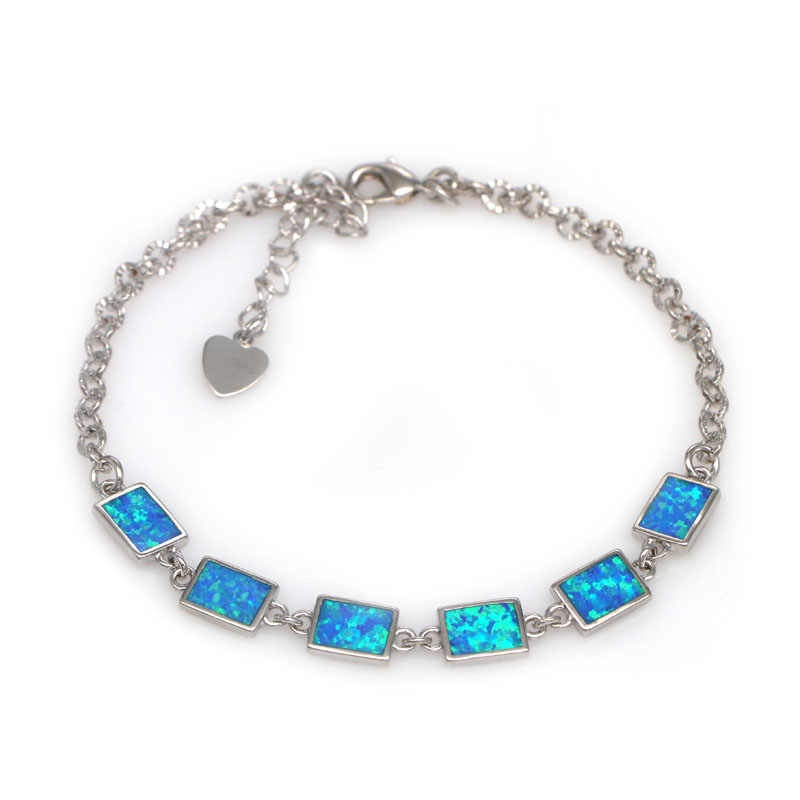 SZ0113  2018 new design blue fire opal simple geometric k-shaped bracelet female bracelet wholesale fashion jewelry gift