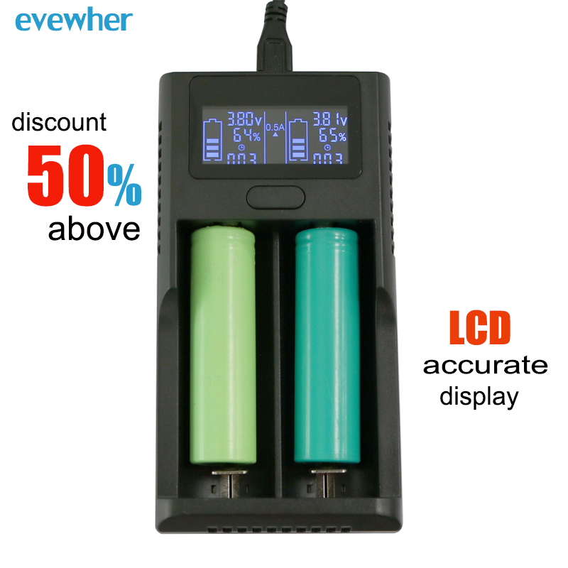 Evewher Universal Intelligent LCD 18650 14500 26650 Lithium Battery Charger DIY AA AAA Li-ion Batery Charge USB 2 Slot Charging xtar vc4 four slot usb lithium ion battery charger