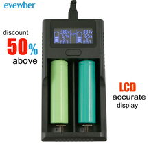 купить Evewher Universal LCD Indicator Liion Battery Charger For 18650 26650 14500 Battery Chargers Charging With 2 Slots Charging онлайн