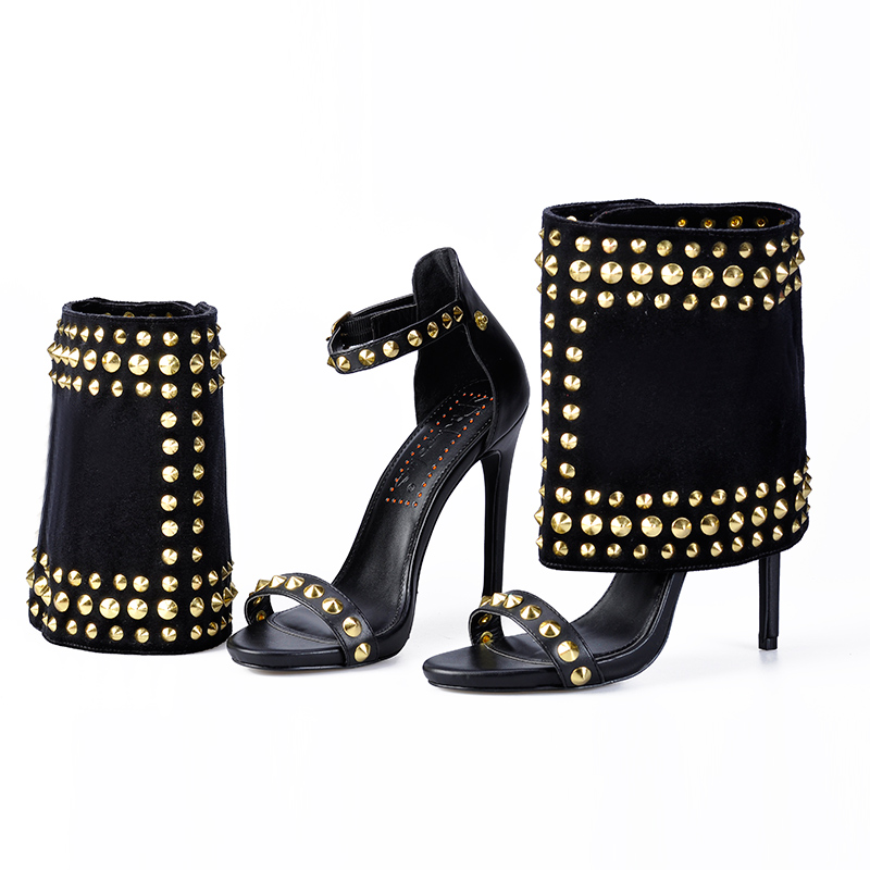 Pink Palms Shoes Women Sandals and Shaft Two Pieces Set High heels with Trendy Rivets Hot Sale Passion Women Ankle Sandals Boots - 2