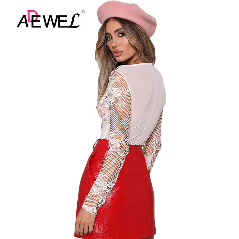 a620750a86d ADEWEL Sexy White Mesh Long Sleeve Lace Bodysuit Women V-neck Transparent Jumpsuit  Rompers Body Tops Club wear Female Bodysuits