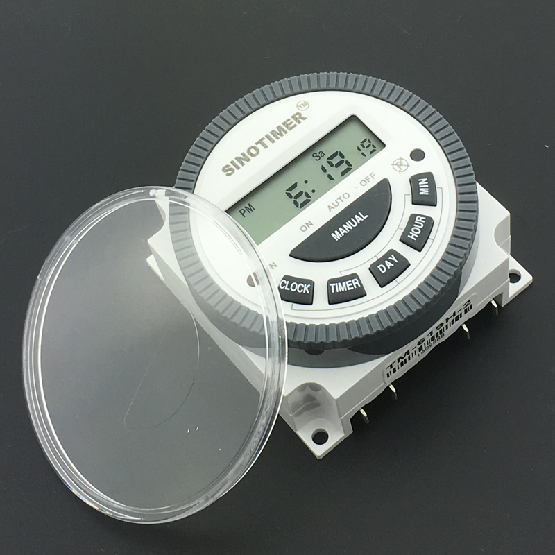 SINOTIMER Digital Weekly Programmable 12V DC Timer Switch with waterproof cover with UL listed Relay inside