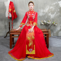Lady Dragon Phoenix Cheongsam Set Red Full Length Stage Show Clothing Floral Embroidery Chinese Style Wedding Dress S M L XL