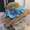 Hot 2016 de Alta Calidad De Rafia de Paja Sombreros de Verano Sombrero para el Sol para Las Mujeres de Flores de Mariposa Orquídea Tapa Plegable Tapas Ocasionales de Playa sombrero