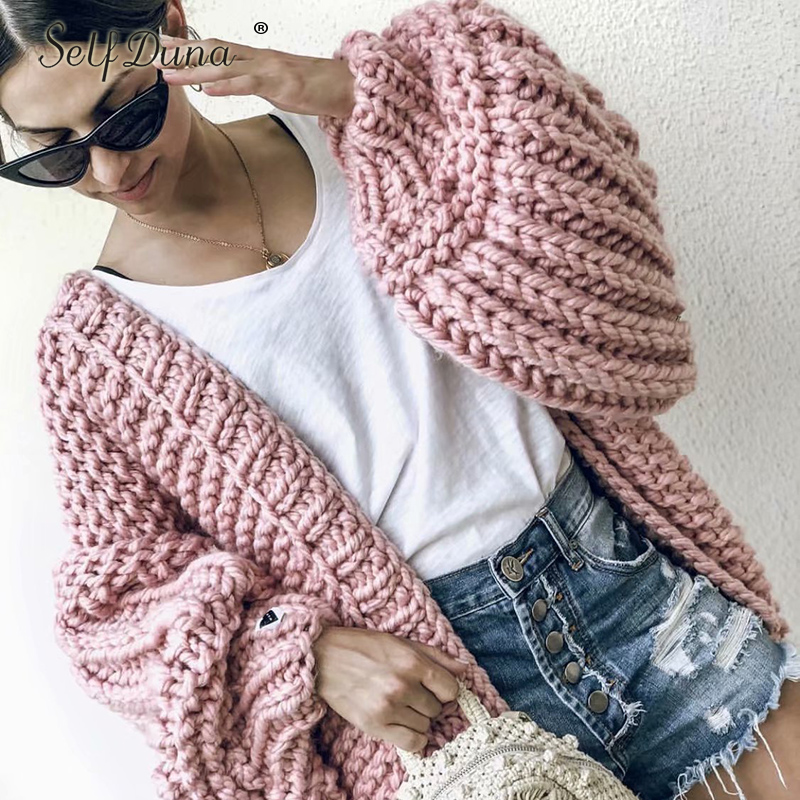Изделие Duna 2019 осень зима ручной вязки кардиган теплый Свитер Тянуть Роковой милые трико розовый Для женщин свитер джемпер
