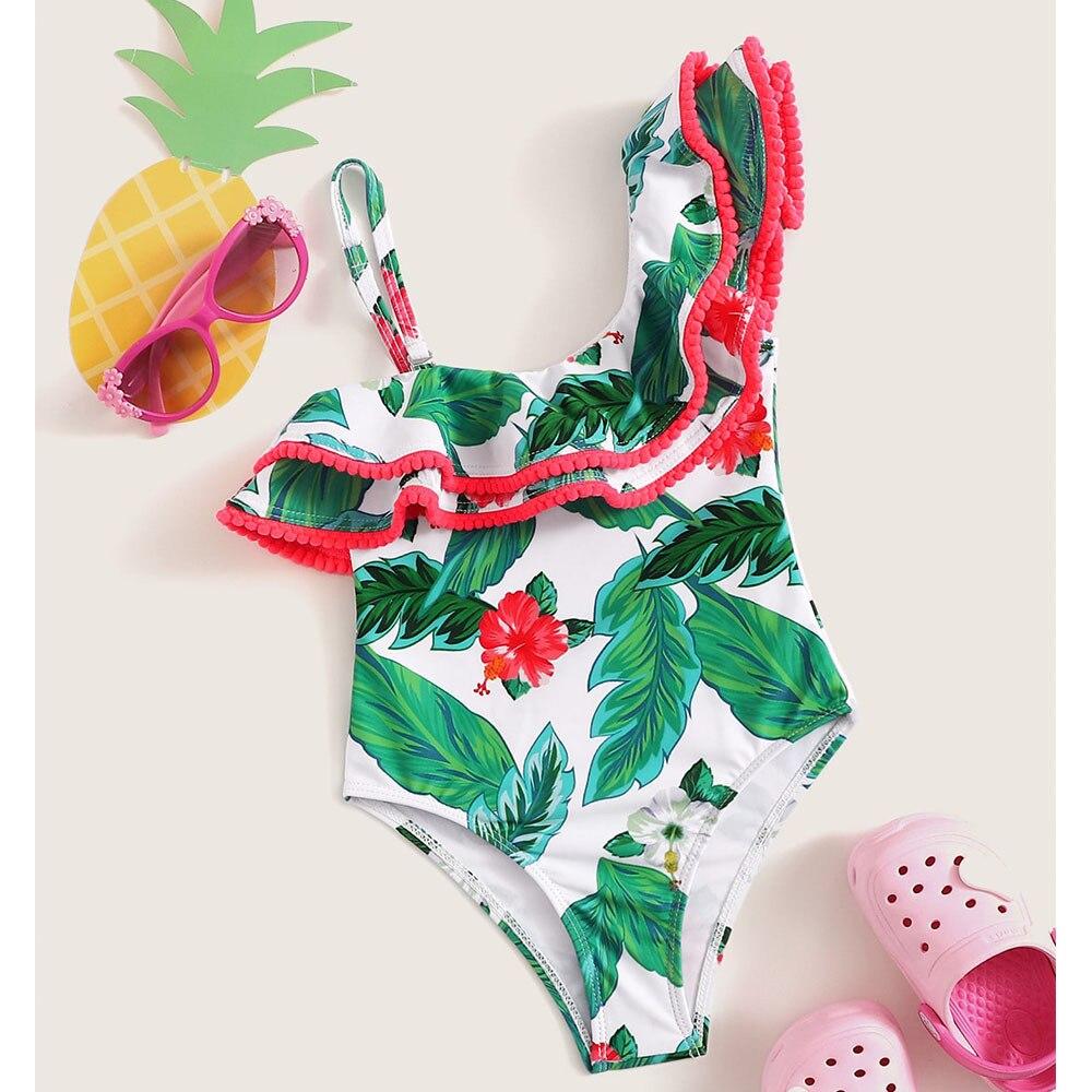 Funfeliz Baby Girls Swim Suit 2 6 Years Print Ruffle One Piece Suit Kids Swimwear 2019 Children Girl Swimming Costume in Children 39 s One Piece Suits from Sports amp Entertainment