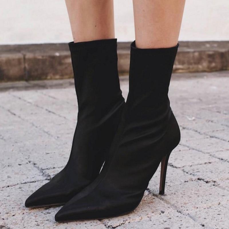 2018 New fashion Mid Calf Stretch Fabric Sock Boots Women