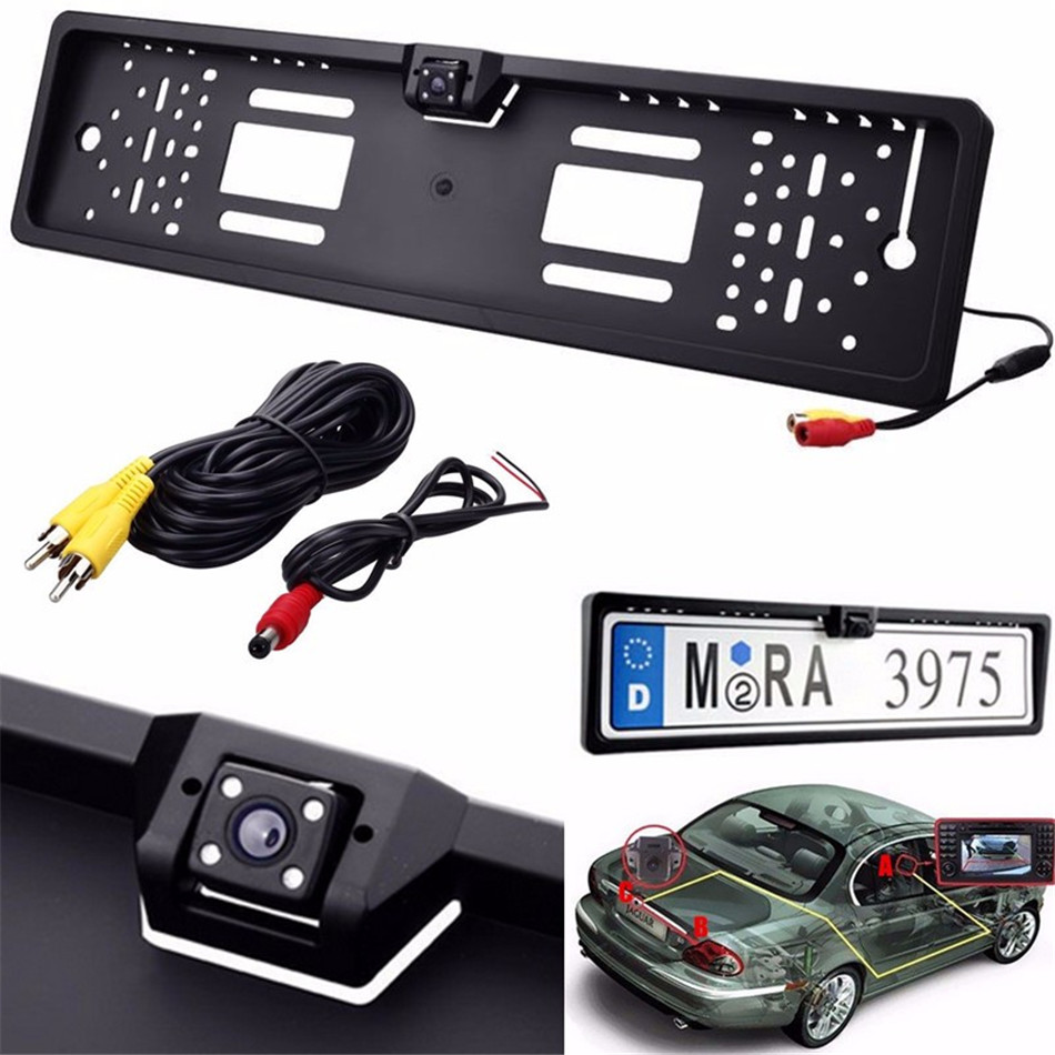 Universal Waterproof Europe License Plate Frame with 170 degree Wide Viewing Angle Rear View font b