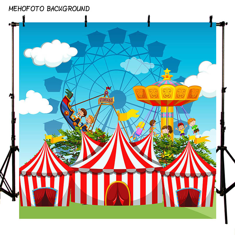 MEHOFOTO Children Circus Birthday Party Photo Background 7x5ft Thin Vinyl Photography Backdrops for Photo Studio Custom LV-083 circus banner party backdrops vinyl cloth computer printed children photo background circus