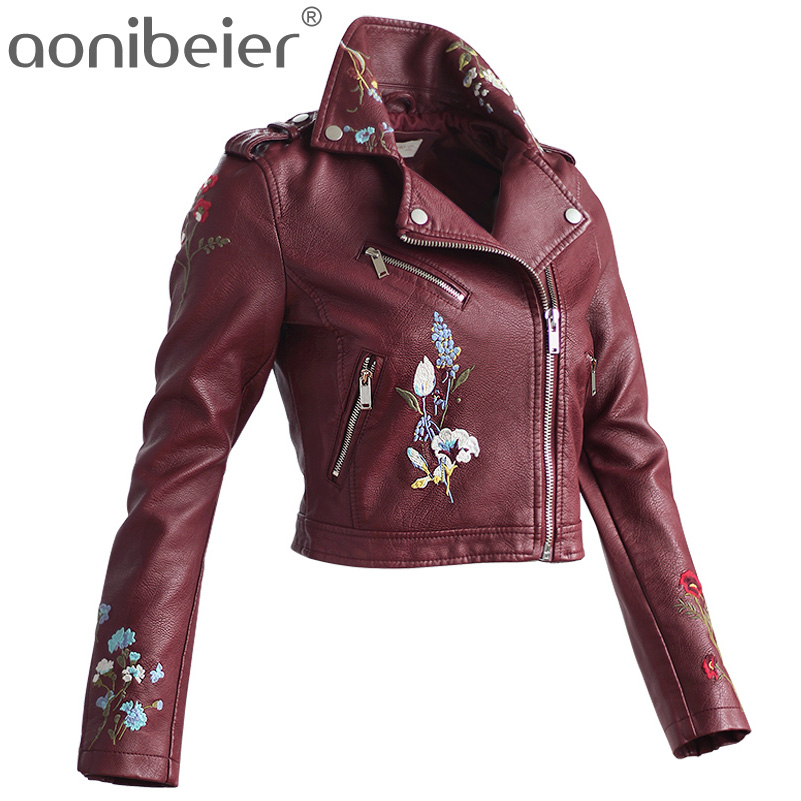 Aonibeier Embroidery Faux Leather Coat Motorcycle Zipper Jacket Women Fashion Cool Outerwear Floral Street Jackets Long