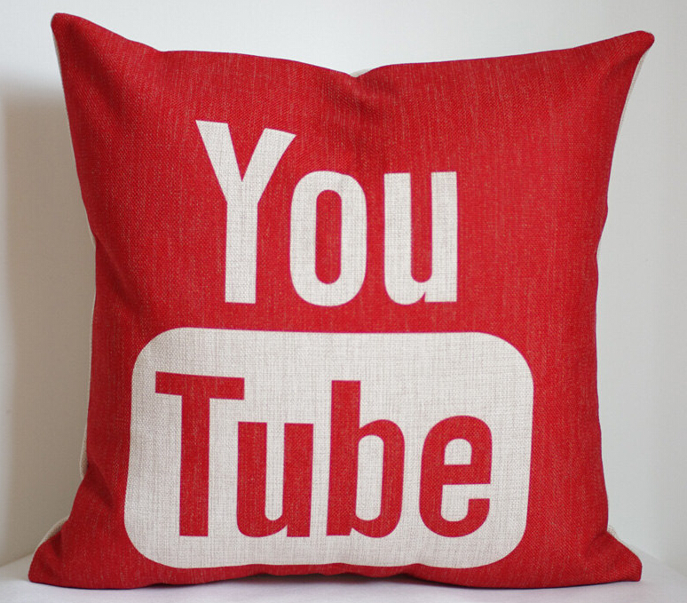 YouTube pillow cover, YouTube pillow case, social media ...