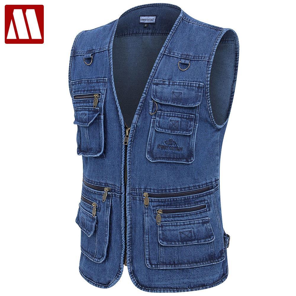 free shipping male denim vests men 3xl 4xl 5xl vest mens