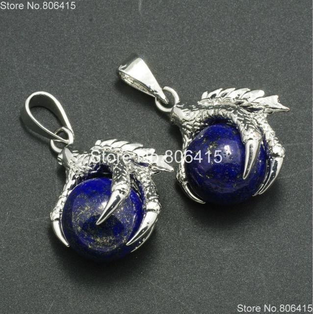 Natural Lapis Gems Stones Dragon Claw Ball Round Healing Reiki Chakra Earrings Pendant Beads Jewelry Making
