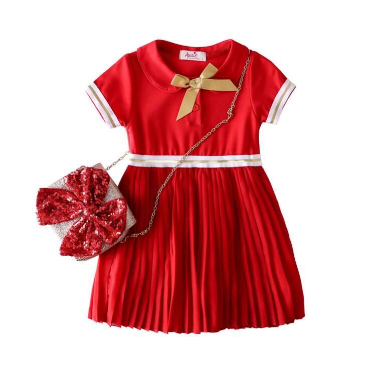 2019 Baby Girls Summer Cotton Chiffon Bow Dresses Princess Children Elegant Dress 5 pcs lot Wholesale