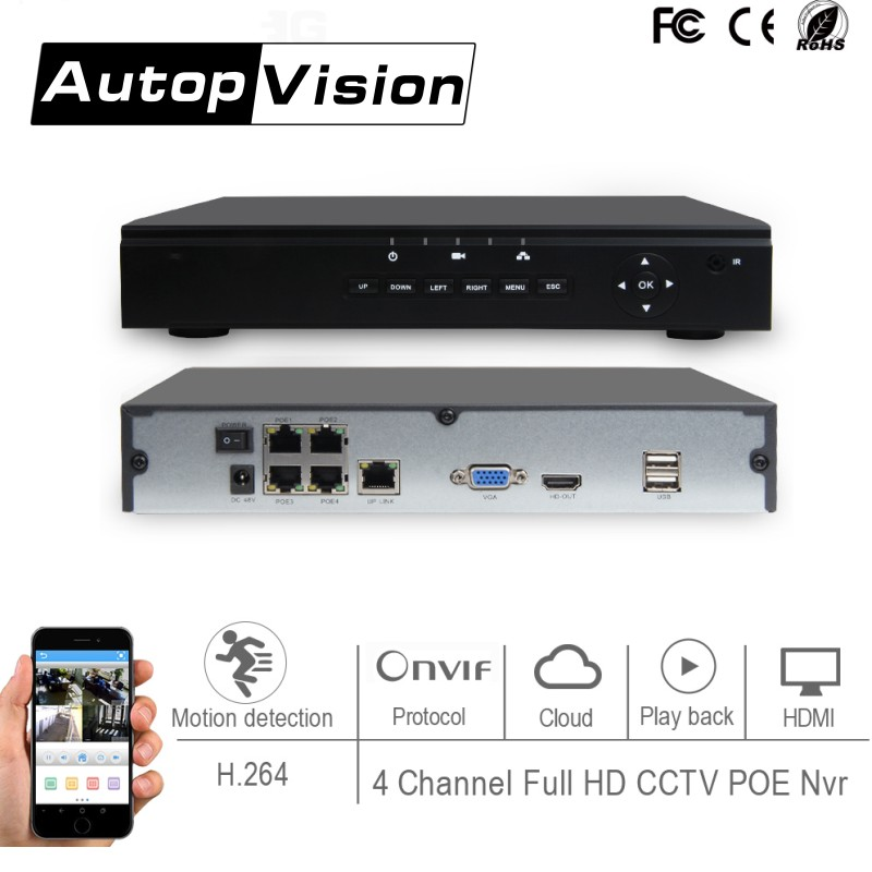 H 264 4 Channel Full HD 1080P 720P POE NVR CCTV NVR Network Video Recorder