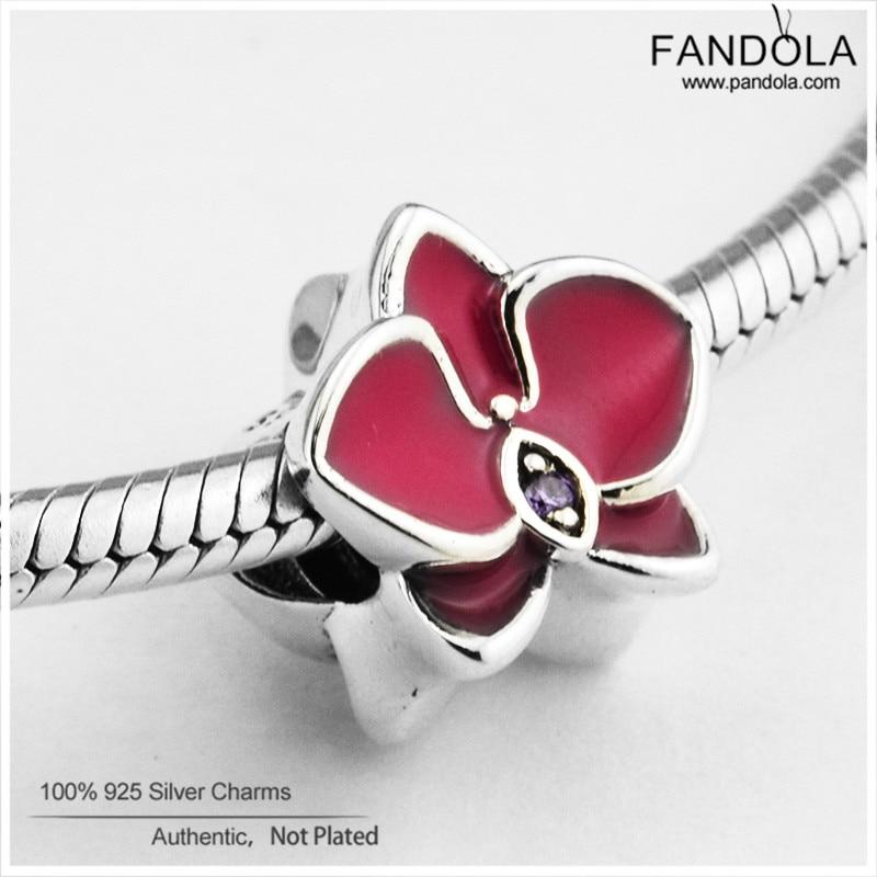 100% 925 Sterling Silber Radiant Orchid Flower Charm Perlen für die - Edlen Schmuck - Foto 3