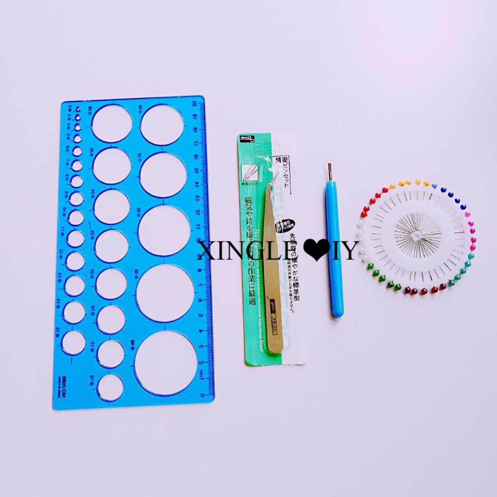 4pcs Paper Craft Tool Set Quilling Paper Pen Tweezers Needle Mould DIY Assorted Color Origami Scrapbooking Slotted Paper Craft