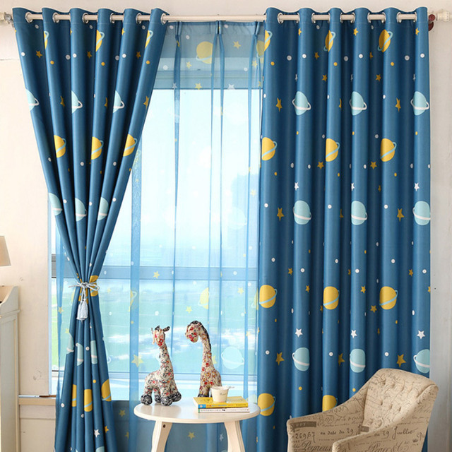 Delicieux Blue Planet Printed Kids Curtains For Boy Bedroom Children Room Window  Sheer Custom Made Curtains