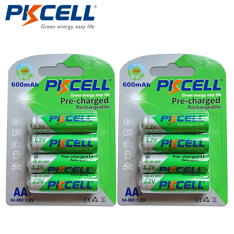 8Pcs/2card PKCELL Ni-Mh AA Rechargeable Batteries 1.2V 600mAh NIMH Low Self-Discharge Battery 2A Pre-charged Battery