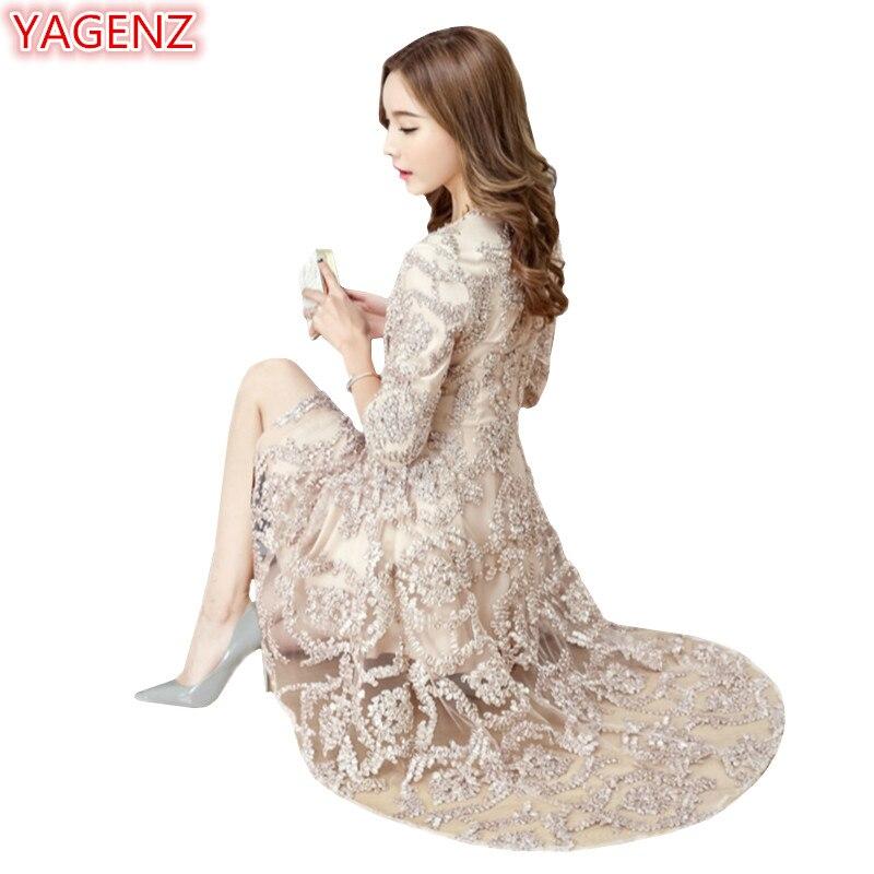 42783750407 YAGENZ весной и летом кружева платье Для женщин с О-образным вырезом  пикантные Женское вечернее платье модные яркие шелковые вышивки лоскутно.