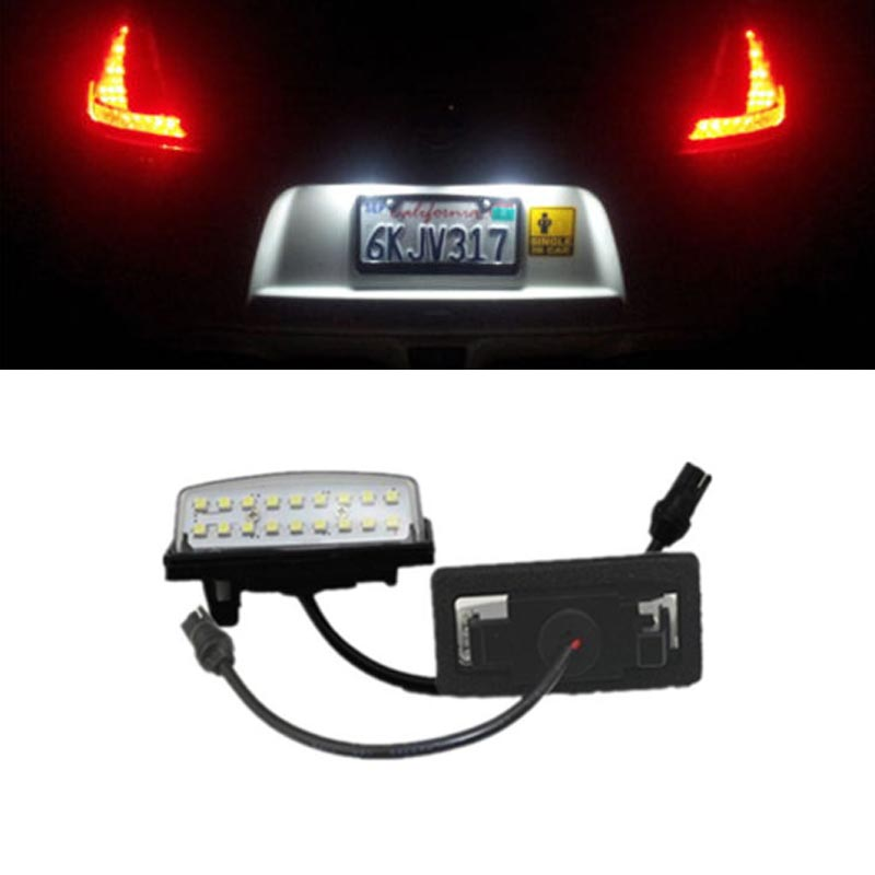 HOPSTYLING 2pcs Direct Fit White 18 SMD Car LED License Plate Light Lamp For Nissan TEANA J31 J32 Maxima Cefiro Number Light direct fit for kia sportage 11 15 led number license plate light lamps 18 smd high quality canbus no error car lights lamp