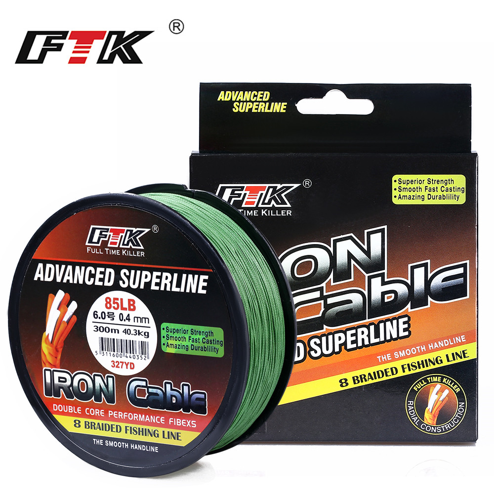 FTK 8 Braided Wire 300m 1.0-6.0# Code 23-85LB 4 Colors Braided Fishing Line Super Abrasion Resistance Fishing Line