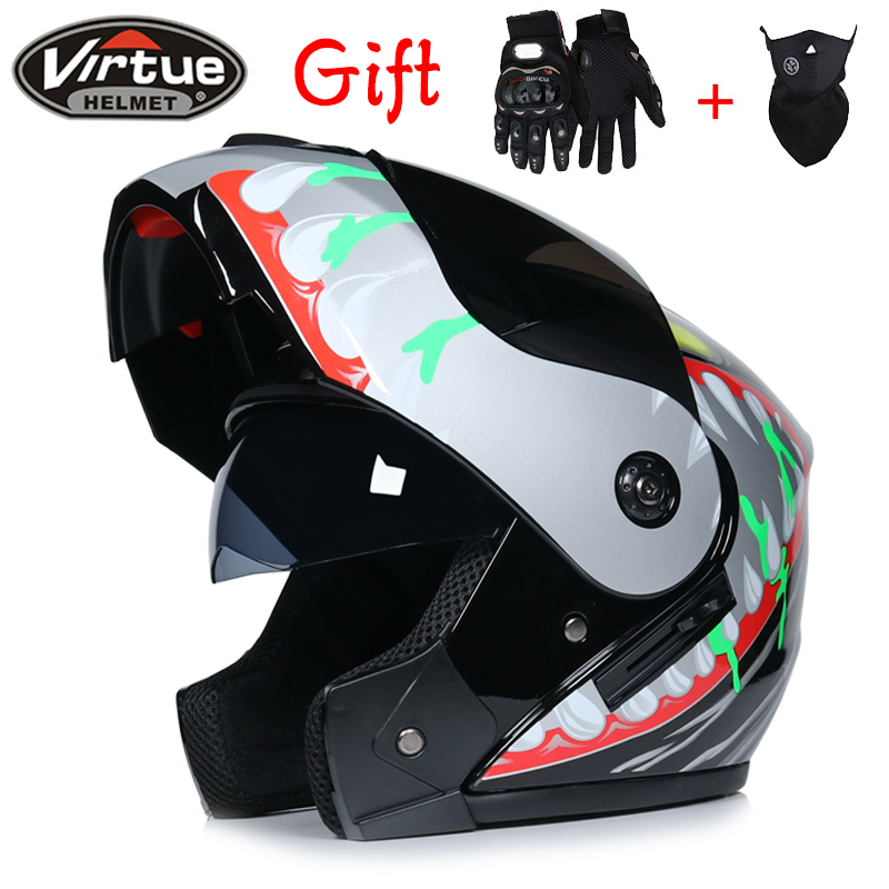 2018 Promotion with inner sun visor flip up motorcycle helmet safety double lens racing motos helmet