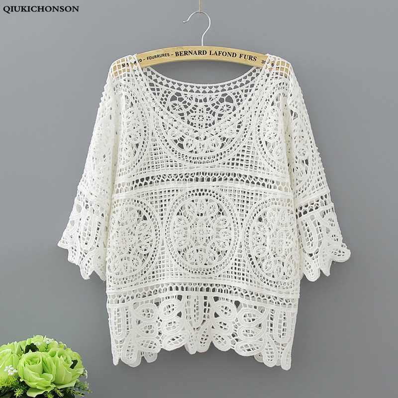 Qiukichonson Vintage Hook Flower Hollow Out Plus Size Tshirt Women Summer Knitted Cotton Tees Half Sleeve O-Neck Loose Short Top