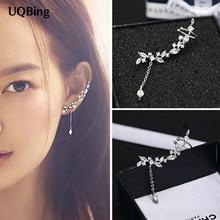 Najnowszy trend darmowa wysyłka moda srebro 925 kryształowe kolczyki liść biżuteria kolczyki wiszące Pendientes Brincos