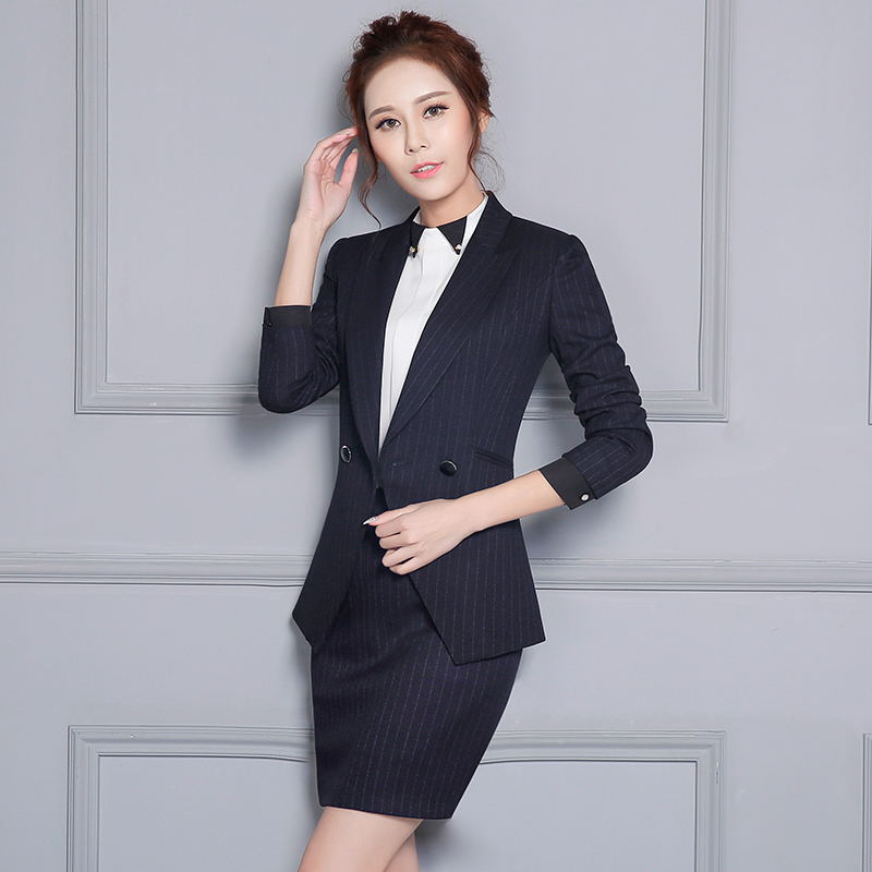 Two Piece Womens Business Suits Blue Long Sleeve Career Blazer Set Fashion Autumn Office Work Formal