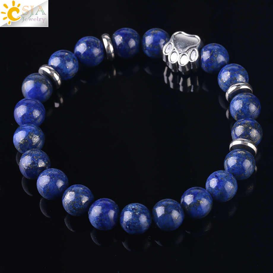 Csja Лидер продаж натуральный камень медведь браслет с лапой бусина мала Йога фиолетовый кристалл Лава кварцевые эластичные веревки для женщин и мужчин браслеты F449