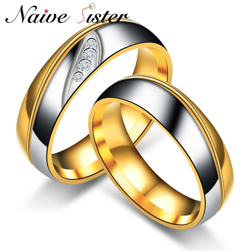 Romantic 316L Stainless Steel Couple Rings Gold-color Engagement Ring Wedding Band For Women Mens Love Promise Jewelry Vintage