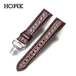Image 1 - HOWK רצועת השעון 18mm 19mm 20mm 21mm 22mm 23mm 24mm עור אמיתי צפו בנד תנין עגול שעון תבנית