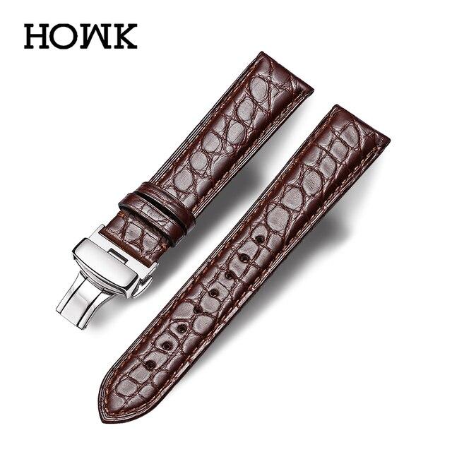 HOWK רצועת השעון 18mm 19mm 20mm 21mm 22mm 23mm 24mm עור אמיתי צפו בנד תנין עגול שעון תבנית