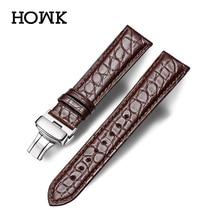 Howk 시계 밴드 18mm 19mm 20mm 21mm 22mm 23mm 24mm 진짜 가죽 시계 밴드 악어 라운드 패턴 시계 스트랩