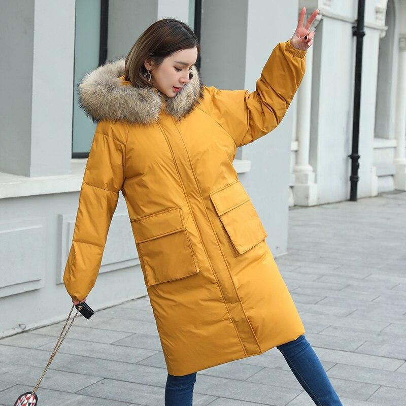 Chaud Hiver Fourrure Col Manteau Ftlzz 2018 Outwear yellow Épaisseur Parkas Solide Vestes Duvet Neige De white Black Nouveau Capuchon À Femmes Canard vza5zq