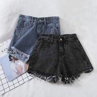 2019 new fashion women's adult clothing retro loose wild edging jeans straight high waist shorts G361